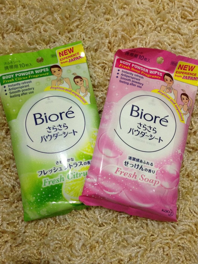 Review: Biore Body Powder Wipes (Fresh Citrus and Fresh Soap Fragrances)